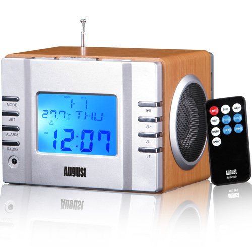 August MB300 - Radiowecker - MP3 Player / Stereoanlage – Uhrenradio - Hellbraun