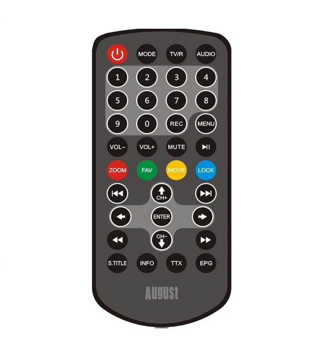 Remote control for August Portable TV DA100C and DA900C