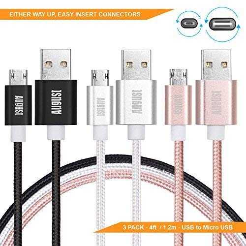 Reversible Micro USB Charging Cables - August TC12 - Reversible So You Always Plug Them in Right The First Time - [3 Pack - Braided - 1.2m]